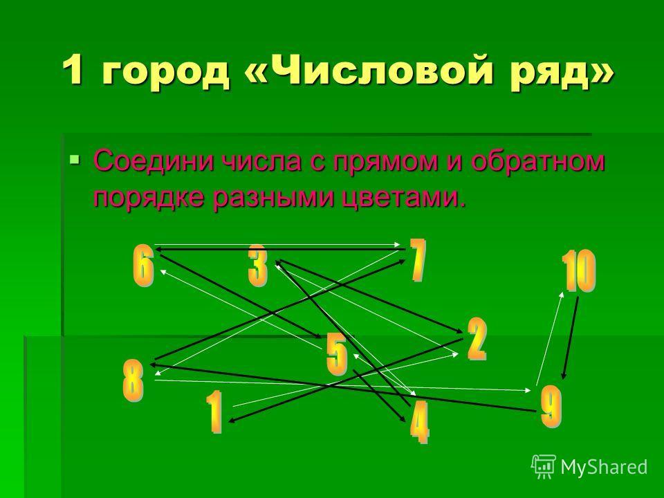 1 город «Числовой ряд» Соедини числа с прямом и обратном порядке разными цветами. Соедини числа с прямом и обратном порядке разными цветами.
