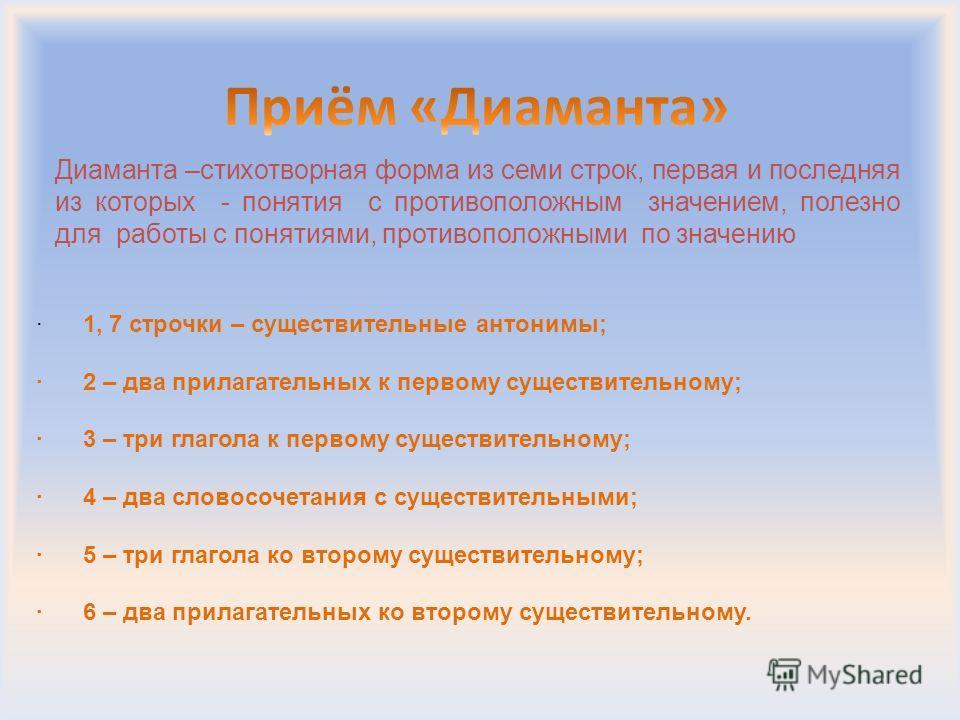 Диаманта –стихотворная форма из семи строк, первая и последняя из которых - понятия с противоположным значением, полезно для работы с понятиями, противоположными по значению · 1, 7 строчки – существительные антонимы; · 2 – два прилагательных к первом