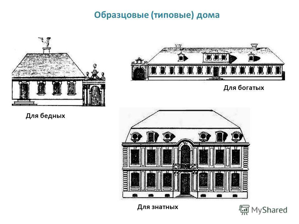 Образцовые (типовые) дома Для знатных Для богатых Для бедных