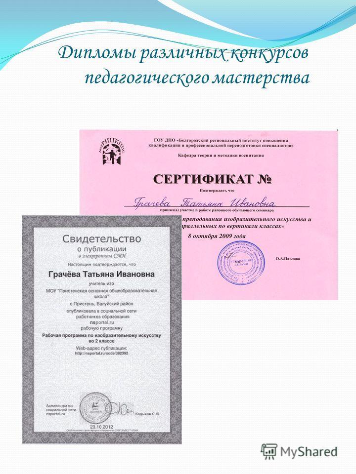Дипломы различных конкурсов педагогического мастерства
