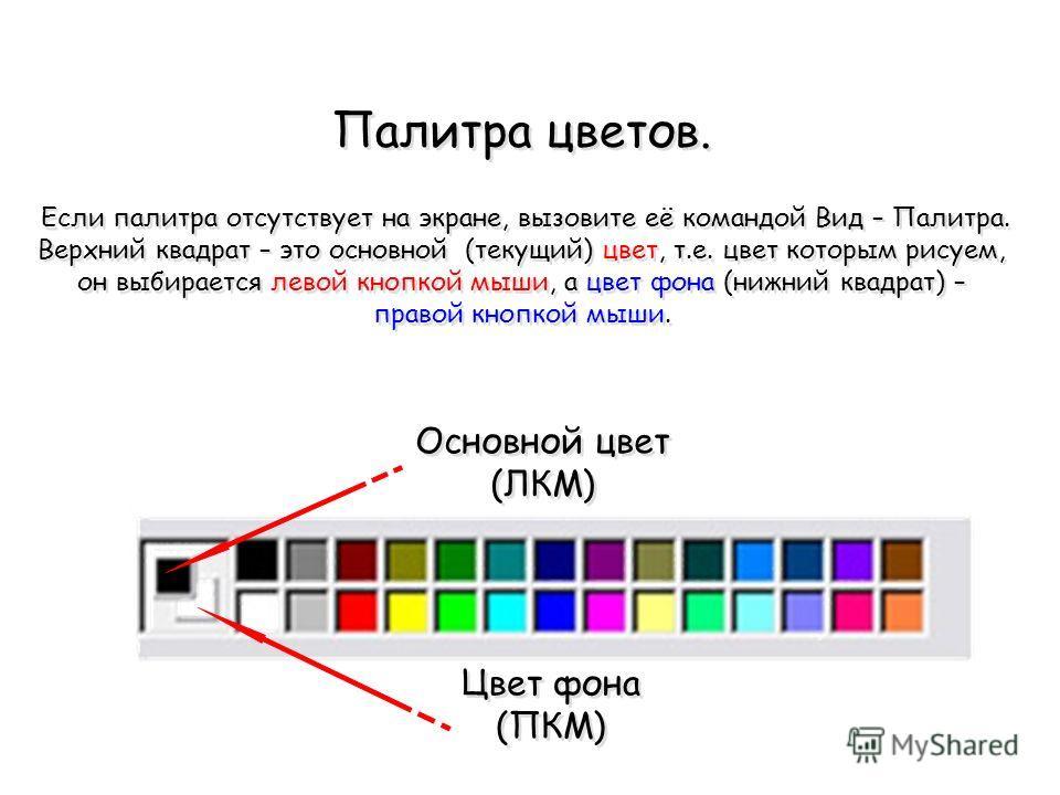 Палитра цветов. Если палитра отсутствует на экране, вызовите её командой Вид – Палитра. Верхний квадрат – это основной (текущий) цвет, т.е. цвет которым рисуем, он выбирается левой кнопкой мыши, а цвет фона (нижний квадрат) – правой кнопкой мыши. Осн