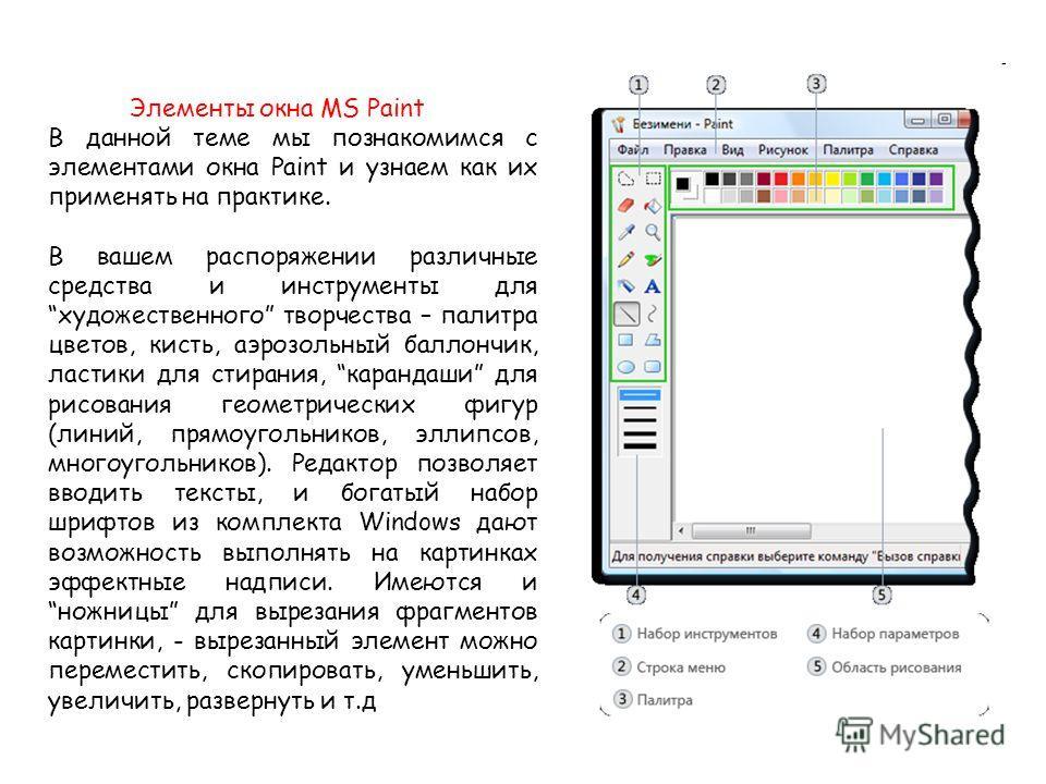Элементы окна MS Paint В данной теме мы познакомимся с элементами окна Paint и узнаем как их применять на практике. В вашем распоряжении различные средства и инструменты для художественного творчества – палитра цветов, кисть, аэрозольный баллончик, л
