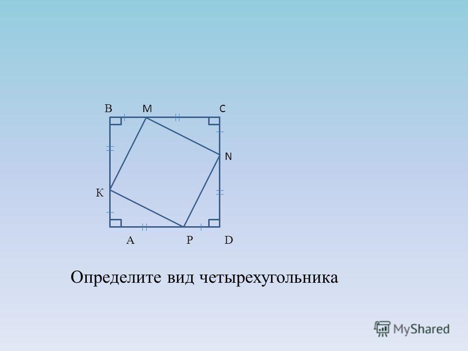 Определите вид четырехугольника В М С N К A P D