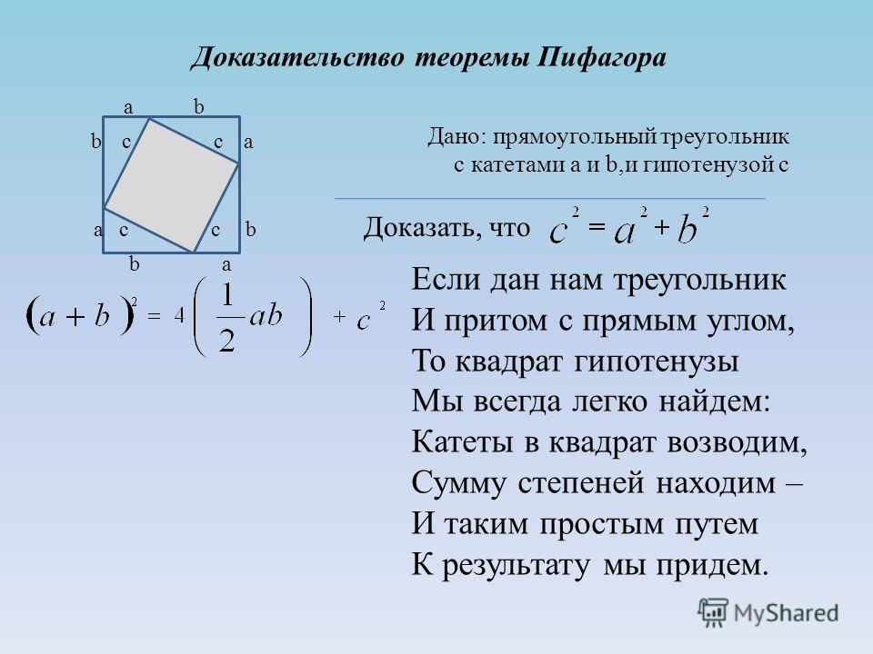 Доказательство теоремы Пифагора a b c c a b b a c c b a Дано: прямоугольный треугольник с катетами a и b,и гипотенузой с Доказать, что Если дан нам треугольник И притом с прямым углом, То квадрат гипотенузы Мы всегда легко найдем: Катеты в квадрат во