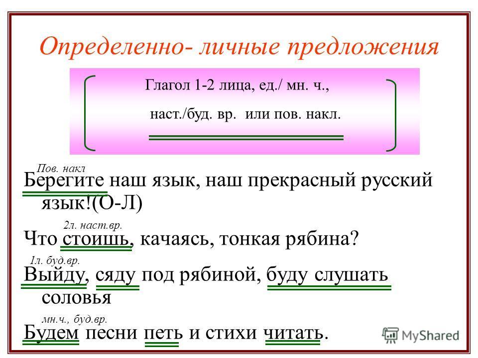 Определенно- личные предложения Берегите наш язык, наш прекрасный русский язык!(О-Л) Что стоишь, качаясь, тонкая рябина? Выйду, сяду под рябиной, буду слушать соловья Будем песни петь и стихи читать. Глагол 1-2 лица, ед./ мн. ч., наст./буд. вр. или п