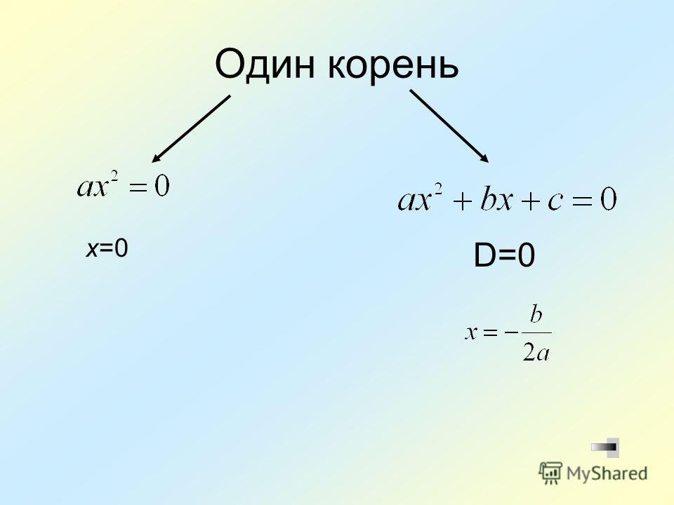 Один корень х=0 D=0