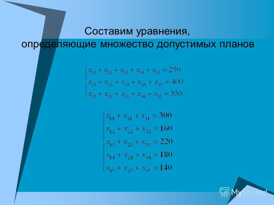 Составим уравнения, определяющие множество допустимых планов