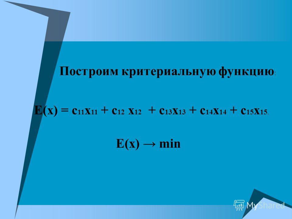 Построим критериальную функцию : Е(х) = с 11 х 11 + с 12 х 12 + с 13 х 13 + с 14 х 14 + с 15 х 15. Е(х) min