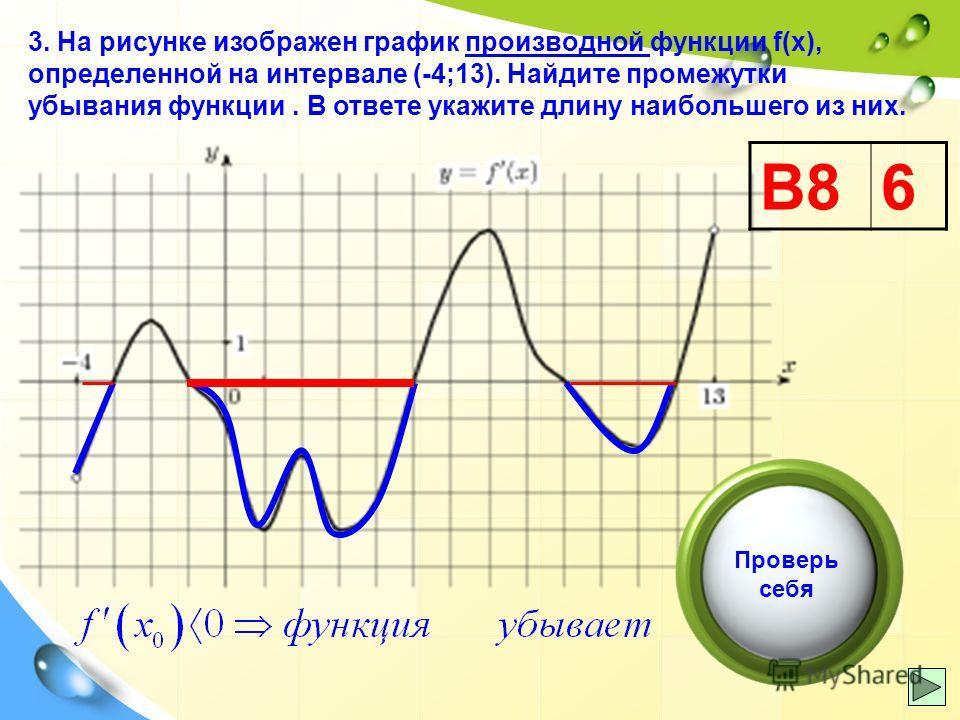 3. На рисунке изображен график производной функции f(x), определенной на интервале (-4;13). Найдите промежутки убывания функции. В ответе укажите длину наибольшего из них. В86 Проверь себя