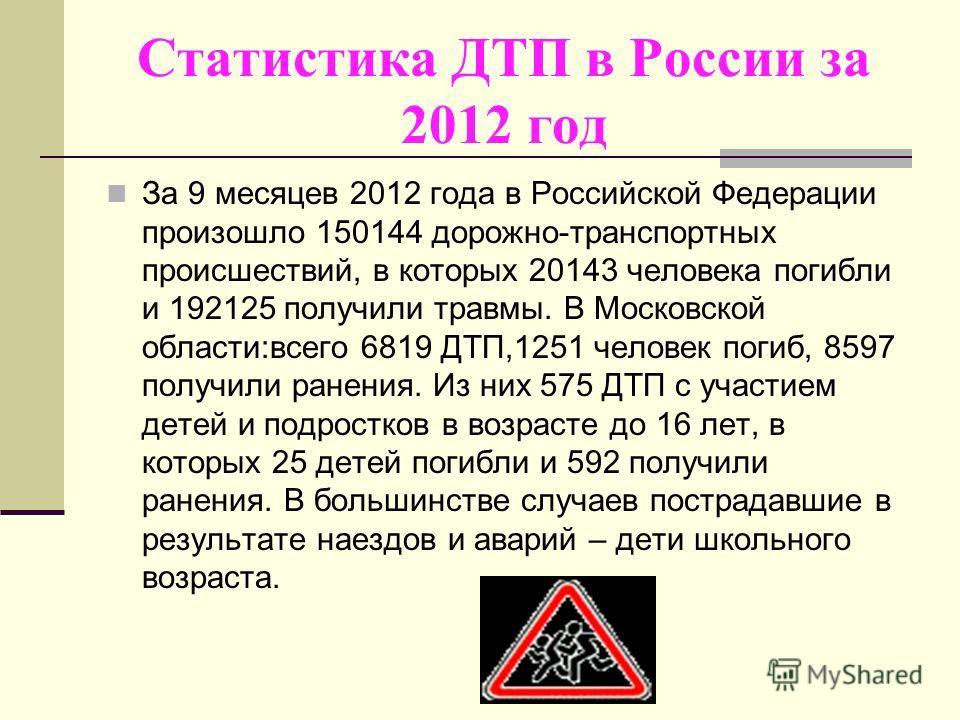 Статистика ДТП в России за 2012 год За 9 месяцев 2012 года в Российской Федерации произошло 150144 дорожно-транспортных происшествий, в которых 20143 человека погибли и 192125 получили травмы. В Московской области:всего 6819 ДТП,1251 человек погиб, 8