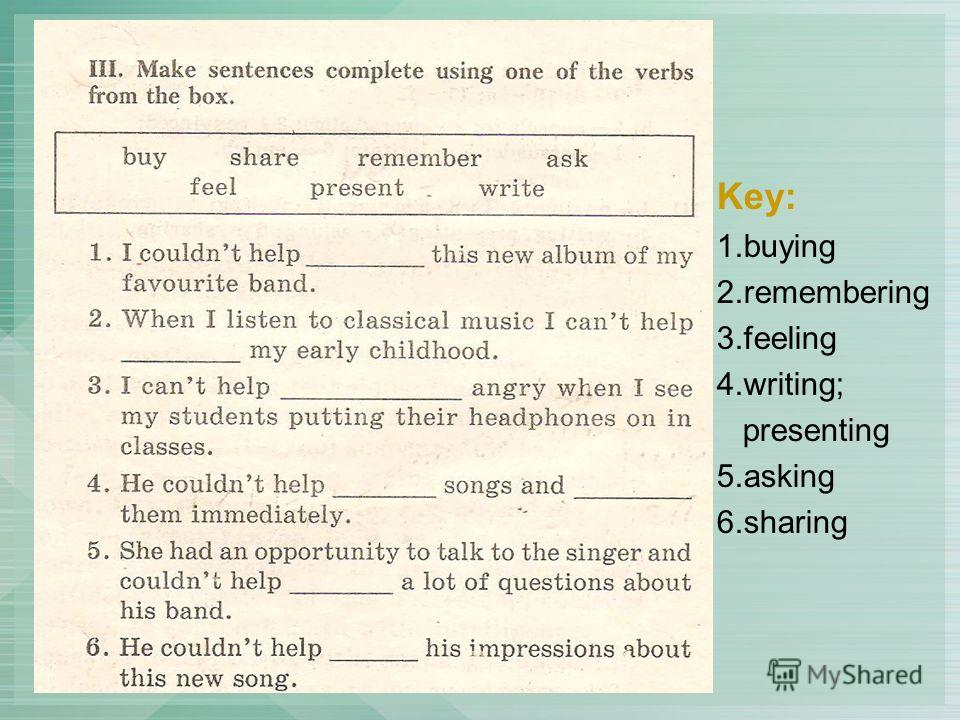 Key: 1.buying 2.remembering 3.feeling 4.writing; presenting 5.asking 6.sharing