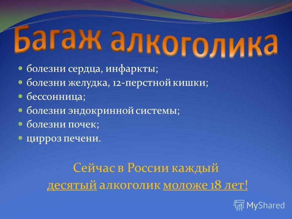 болезни сердца, инфаркты; болезни желудка, 12-перстной кишки; бессонница; болезни эндокринной системы; болезни почек; цирроз печени. Сейчас в России каждый десятый алкоголик моложе 18 лет!