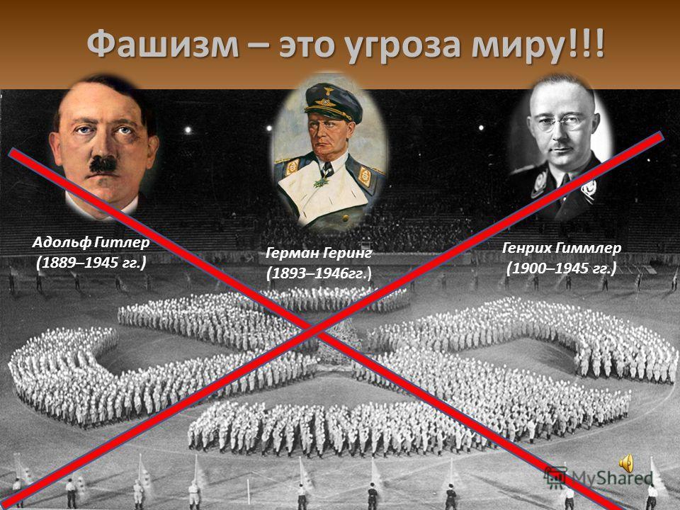 Фашизм – это угроза миру!!! Адольф Гитлер (1889–1945 гг.) Герман Геринг (1893–1946гг.) Генрих Гиммлер (1900–1945 гг.)