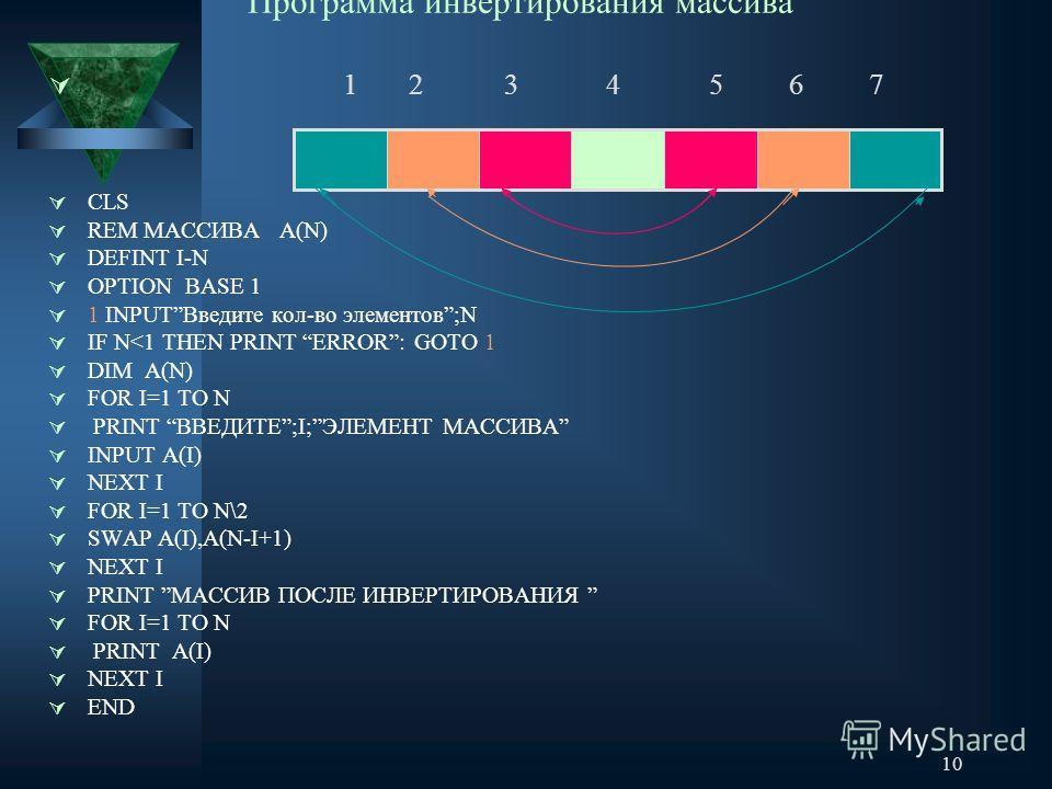 10 Программа инвертирования массива 1 2 3 4 5 6 7 CLS REM МАССИВА А(N) DEFINT I-N OPTION BASE 1 1 INPUTВведите кол-во элементов;N IF N