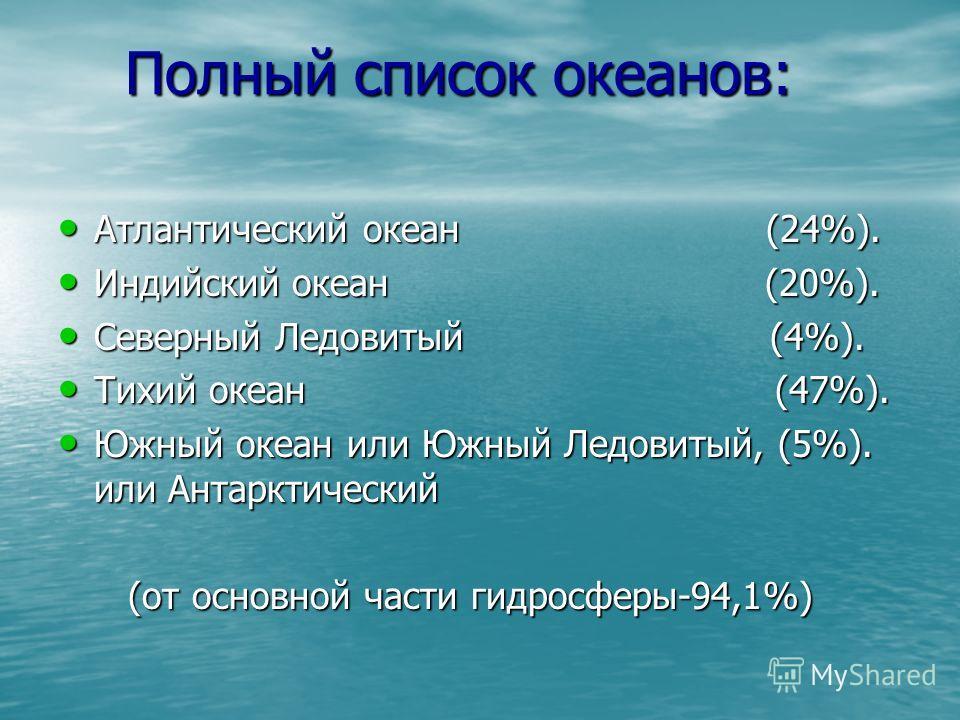 Полный список океанов: Полный список океанов: Атлантический океан (24%). Атлантический океан (24%). Индийский океан (20%). Индийский океан (20%). Северный Ледовитый (4%). Северный Ледовитый (4%). Тихий океан (47%). Тихий океан (47%). Южный океан или