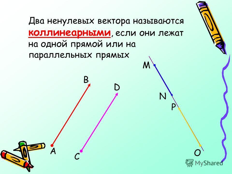 Два ненулевых вектора называются коллинеарными, если они лежат на одной прямой или на параллельных прямых С А В M O P N D