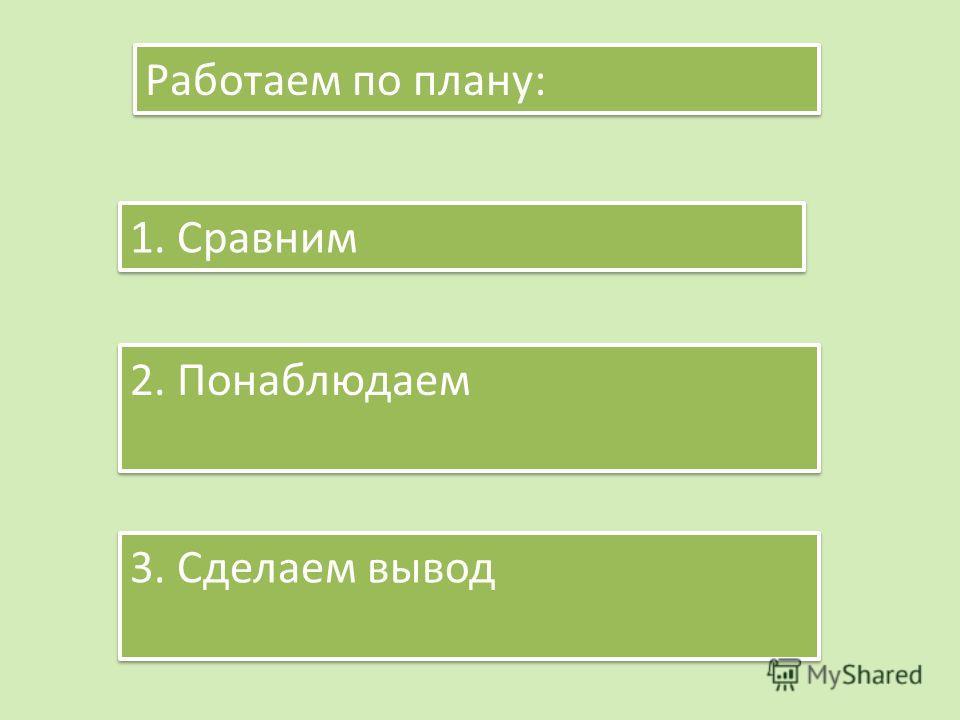 Работаем по плану: 1. Сравним 2. Понаблюдаем 3. Сделаем вывод