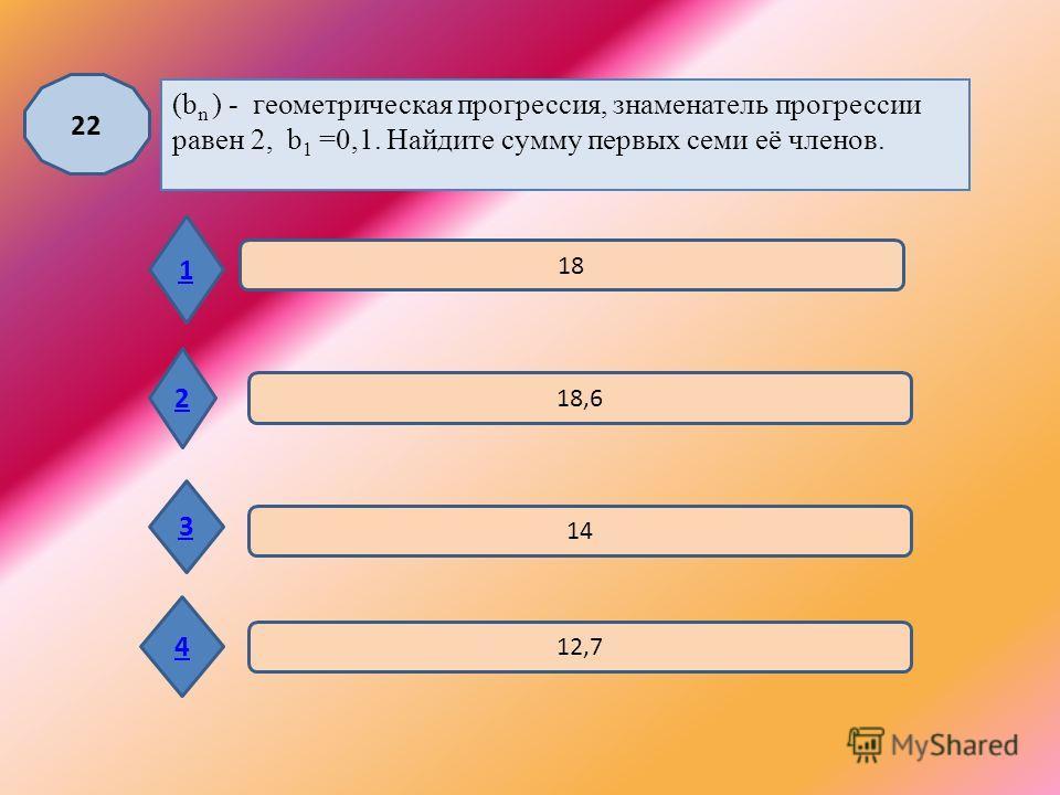 21 1 2 3 4 2 4 -3 5 В геометрической прогрессии (a n ) а 12 = 128, а 15 = 1024. Найдите знаменатель геометрической прогрессии ( а n ).