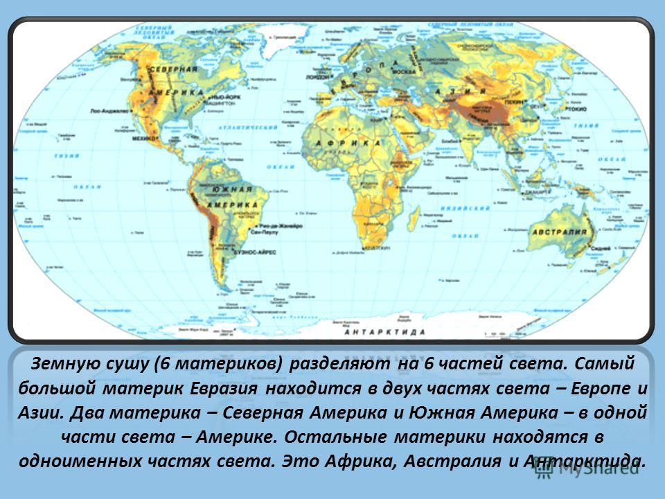 Земную сушу (6 материков) разделяют на 6 частей света. Самый большой материк Евразия находится в двух частях света – Европе и Азии. Два материка – Северная Америка и Южная Америка – в одной части света – Америке. Остальные материки находятся в одноим