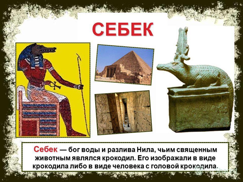 Себек бог воды и разлива Нила, чьим священным животным являлся крокодил. Его изображали в виде крокодила либо в виде человека с головой крокодила. СЕБЕК