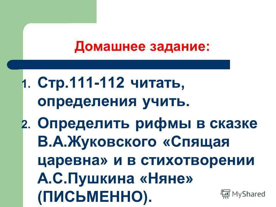 Домашнее задание: 1. Стр.111-112 читать, определения учить. 2. Определить рифмы в сказке В.А.Жуковского «Спящая царевна» и в стихотворении А.С.Пушкина «Няне» (ПИСЬМЕННО).