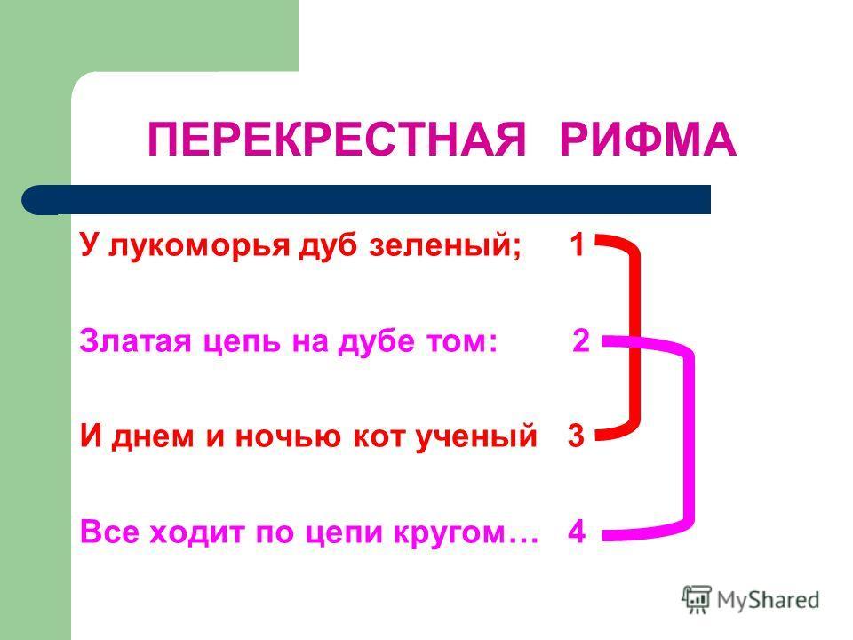 ПЕРЕКРЕСТНАЯ РИФМА У лукоморья дуб зеленый; 1 Златая цепь на дубе том: 2 И днем и ночью кот ученый 3 Все ходит по цепи кругом… 4