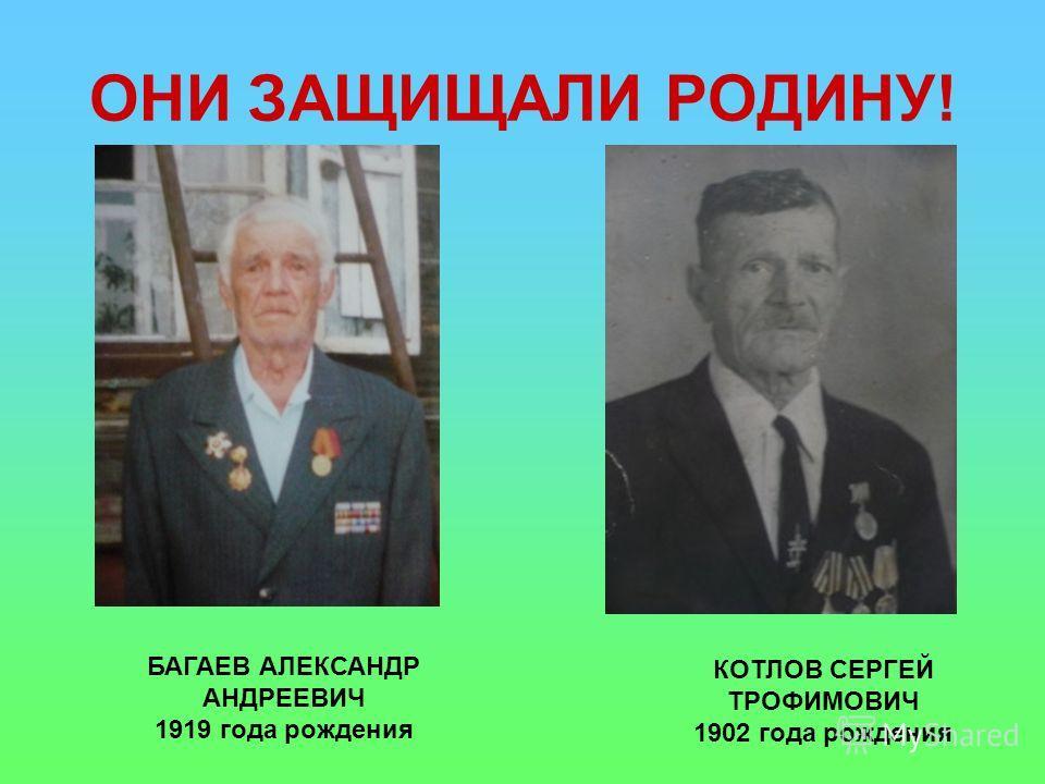 ОНИ ЗАЩИЩАЛИ РОДИНУ! БАГАЕВ АЛЕКСАНДР АНДРЕЕВИЧ 1919 года рождения КОТЛОВ СЕРГЕЙ ТРОФИМОВИЧ 1902 года рождения