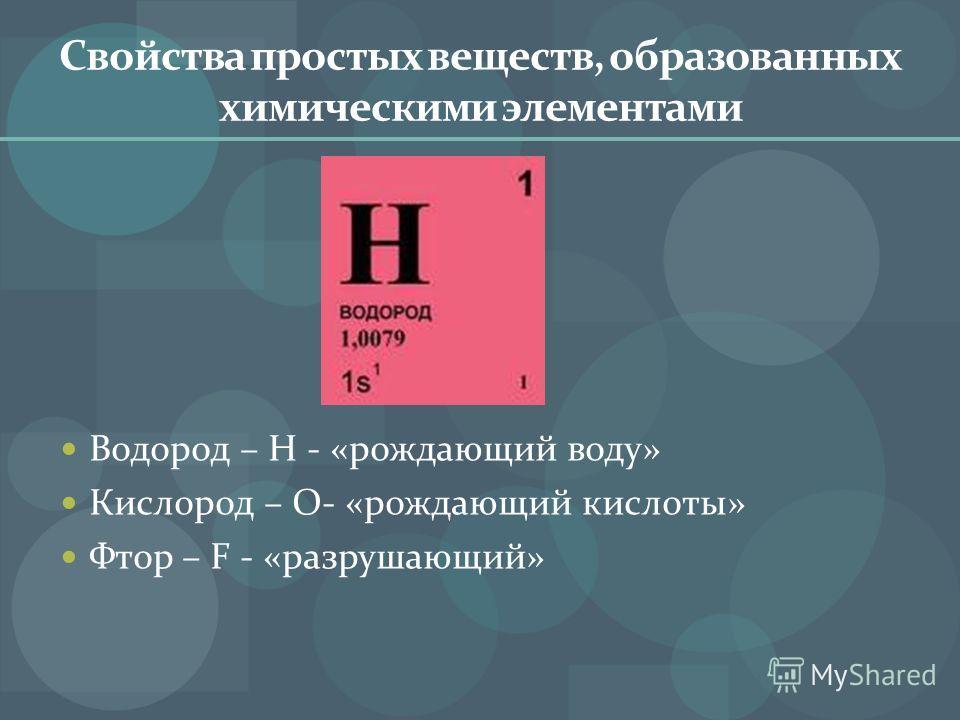 Свойства простых веществ, образованных химическими элементами Водород – H - «рождающий воду» Кислород – O- «рождающий кислоты» Фтор – F - «разрушающий»
