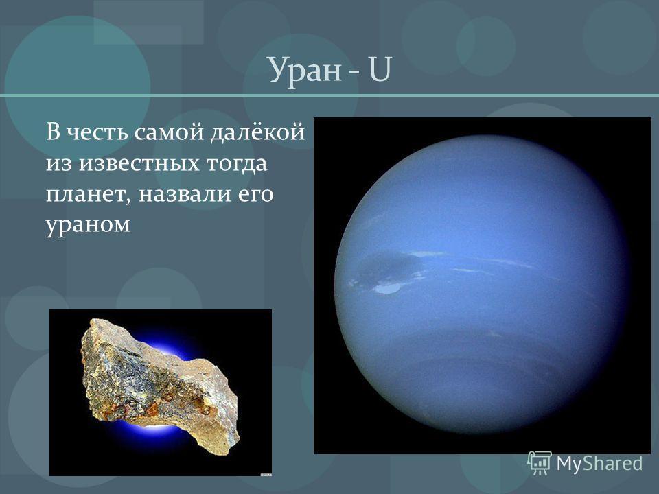 Уран - U В честь самой далёкой из известных тогда планет, назвали его ураном