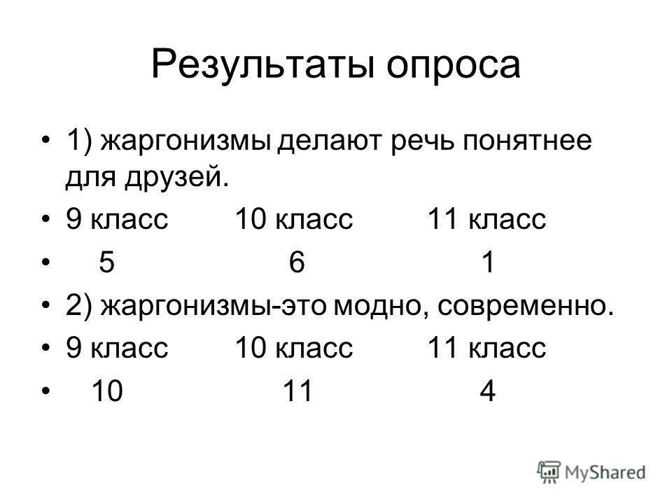 Результаты опроса 1) жаргонизмы делают речь понятнее для друзей. 9 класс 10 класс 11 класс 5 6 1 2) жаргонизмы-это модно, современно. 9 класс 10 класс 11 класс 10 11 4