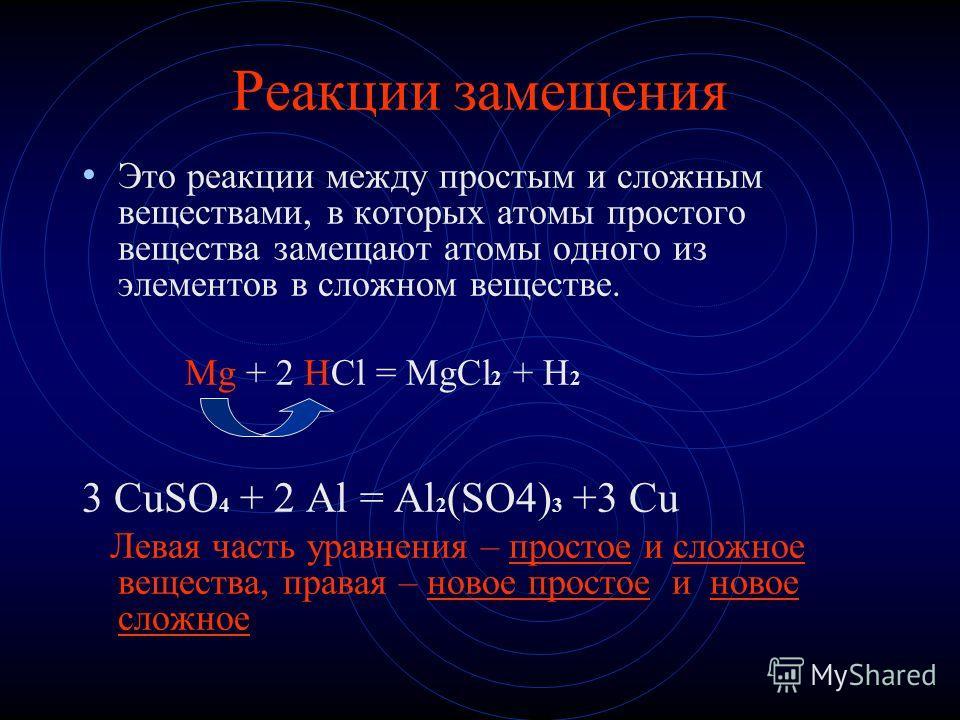 Реакции замещения Это реакции между простым и сложным веществами, в которых атомы простого вещества замещают атомы одного из элементов в сложном веществе. Mg + 2 HCl = MgCl 2 + H 2 3 CuSO 4 + 2 Al = Al 2 (SO4) 3 +3 Cu Левая часть уравнения – простое