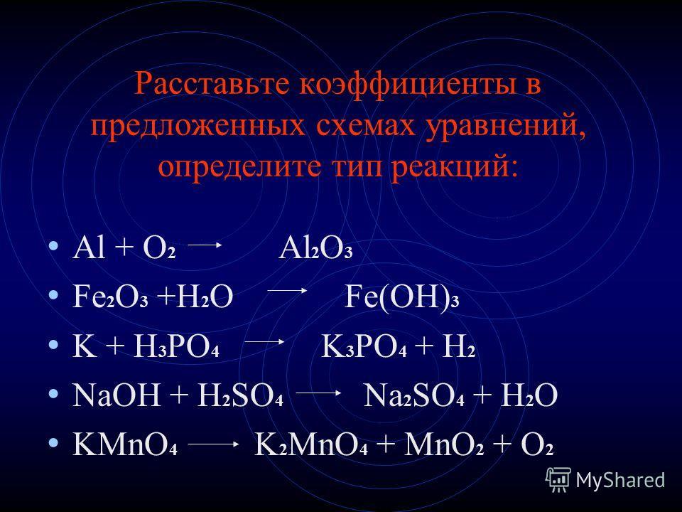 Расставьте коэффициенты в предложенных схемах уравнений, определите тип реакций: Al + O 2 Al 2 O 3 Fe 2 O 3 +H 2 O Fe(OH) 3 K + H 3 PO 4 K 3 PO 4 + H 2 NaOH + H 2 SO 4 Na 2 SO 4 + H 2 O KMnO 4 K 2 MnO 4 + MnO 2 + O 2