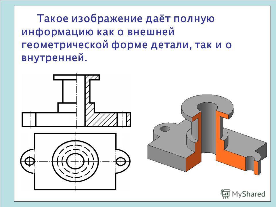 Такое изображение даёт полную информацию как о внешней геометрической форме детали, так и о внутренней.