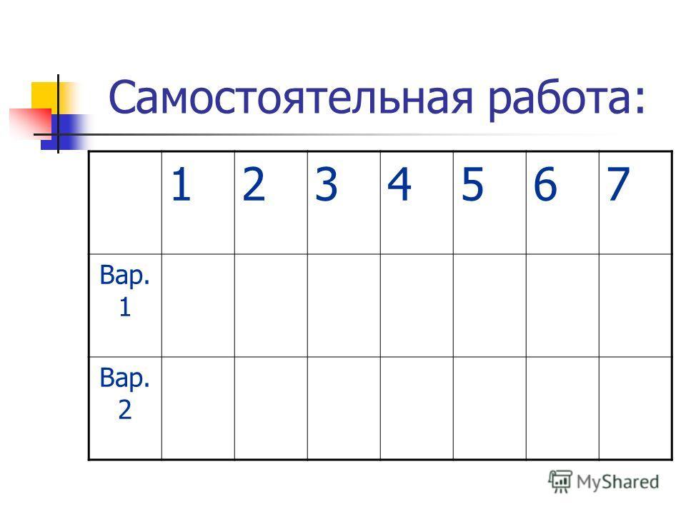 Самостоятельная работа: 1234567 Вар. 1 Вар. 2