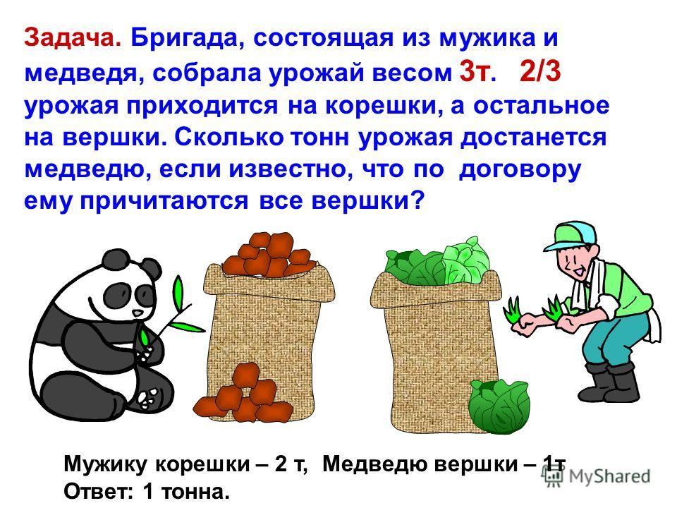 Задача. Бригада, состоящая из мужика и медведя, собрала урожай весом 3т. 2/3 урожая приходится на корешки, а остальное на вершки. Сколько тонн урожая достанется медведю, если известно, что по договору ему причитаются все вершки?