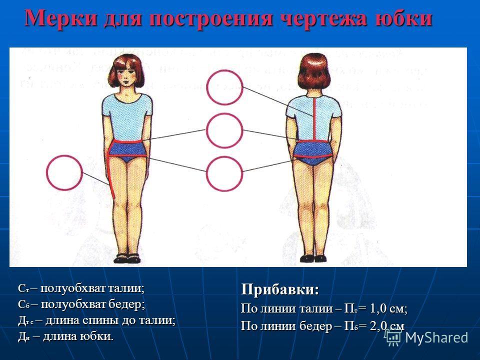 Мерки для построения чертежа юбки С т – полуобхват талии; С б – полуобхват бедер; Д т с – длина спины до талии; Д и – длина юбки. Прибавки: По линии талии – П т = 1,0 см; По линии бедер – П б = 2,0 см