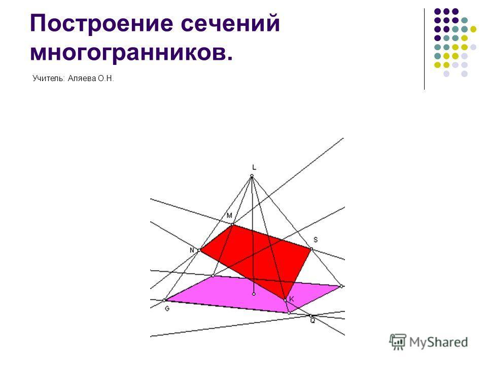 Построение сечений многогранников. Учитель: Аляева О.Н.