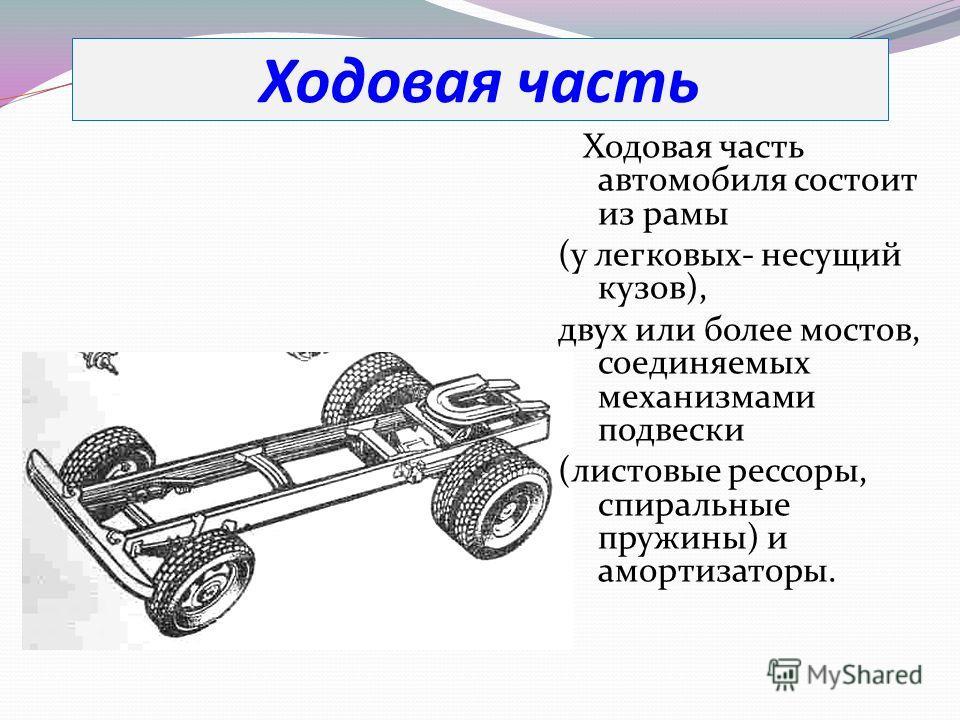 Ходовая часть Ходовая часть автомобиля состоит из рамы (у легковых- несущий кузов), двух или более мостов, соединяемых механизмами подвески (листовые рессоры, спиральные пружины) и амортизаторы.