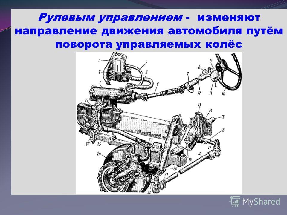 Рулевым управлением - изменяют направление движения автомобиля путём поворота управляемых колёс