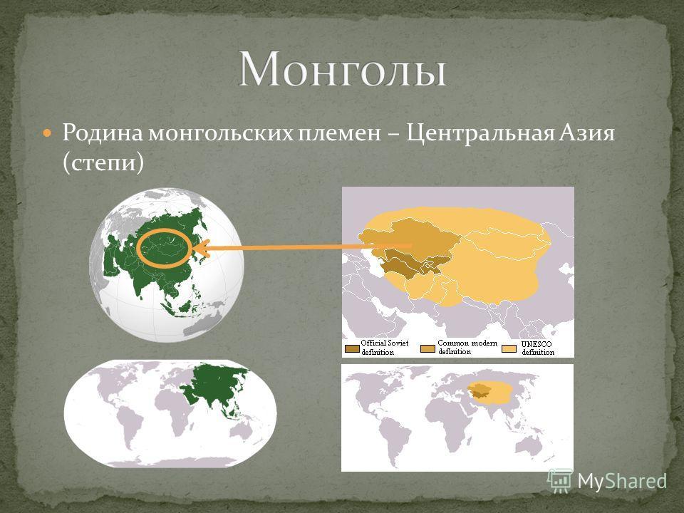Родина монгольских племен – Центральная Азия (степи)