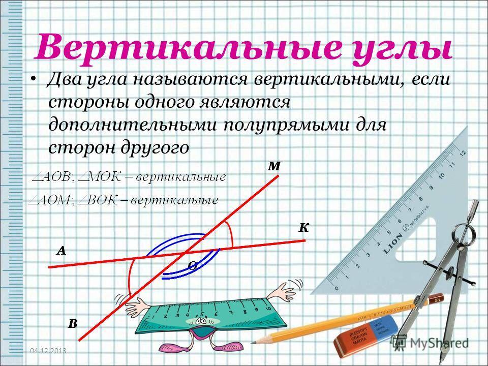 Вертикальные углы Два угла называются вертикальными, если стороны одного являются дополнительными полупрямыми для сторон другого 04.12.2013 А В О М К А В М А В К М А В К М А В К М А В К М А В К М А В К М А В
