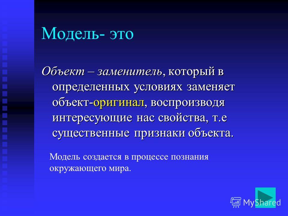 Модель- это Объект – заменитель, который в определенных условиях заменяет объект-оригинал, воспроизводя интересующие нас свойства, т.е существенные признаки объекта. Модель создается в процессе познания окружающего мира.