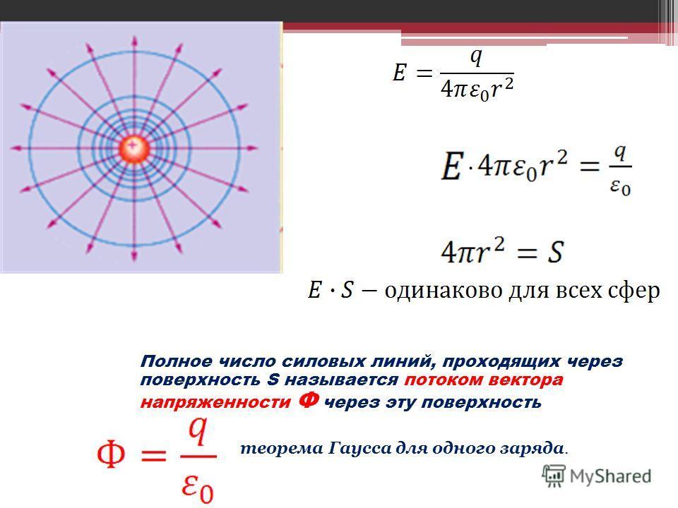 Полное число силовых линий, проходящих через поверхность S называется потоком вектора напряженности Ф через эту поверхность теорема Гаусса для одного заряда.