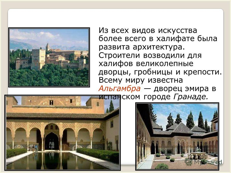 Из всех видов искусства более всего в халифате была развита архитектура. Строители возводили для халифов великолепные дворцы, гробницы и крепости. Всему миру известна Альгамбра дворец эмира в испанском городе Гранаде.