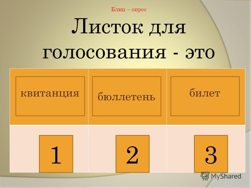Блиц – опрос Листок для голосования - это 123 квитанциябилет бюллетень