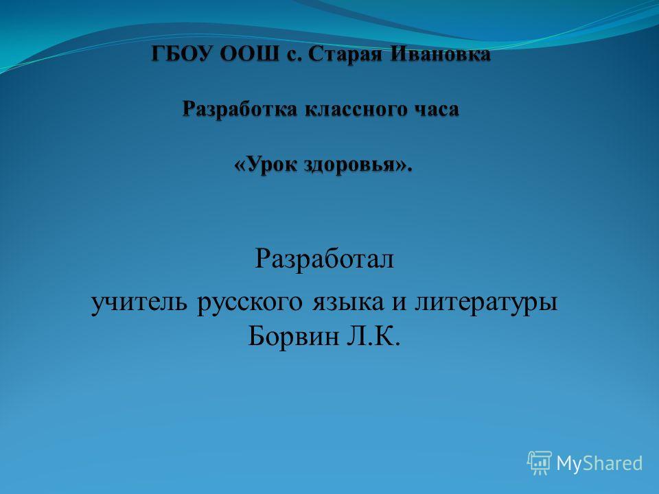 Разработал учитель русского языка и литературы Борвин Л.К.