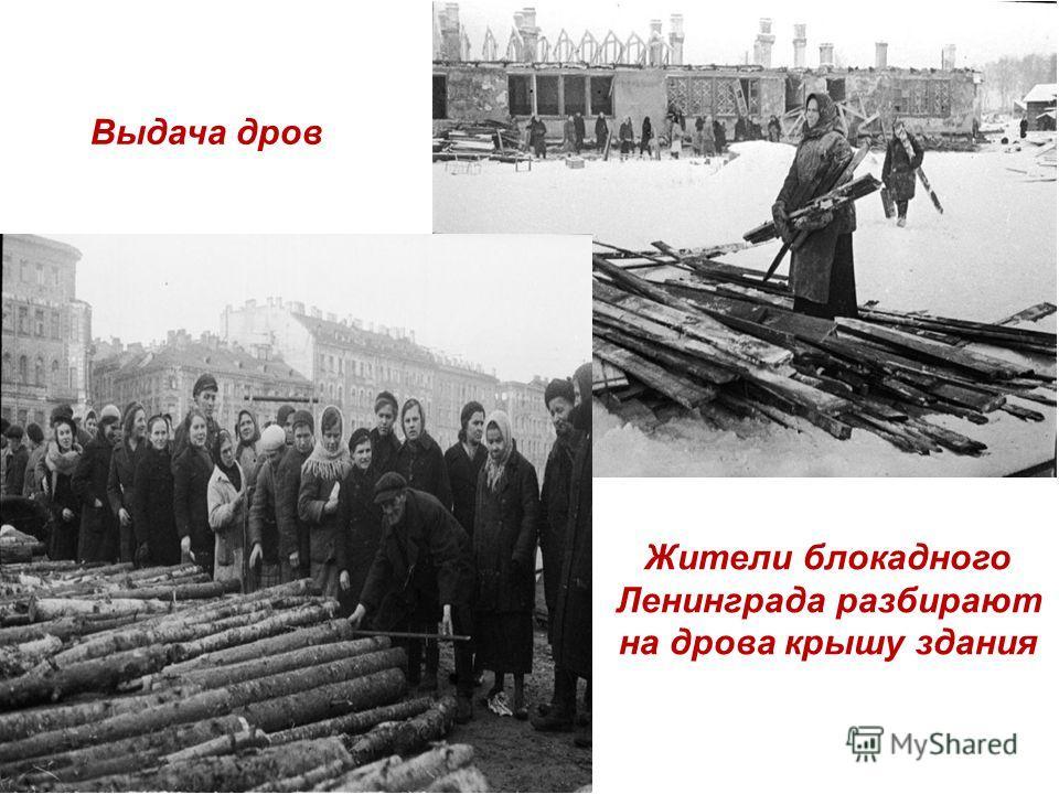 Жители блокадного Ленинграда разбирают на дрова крышу здания Выдача дров