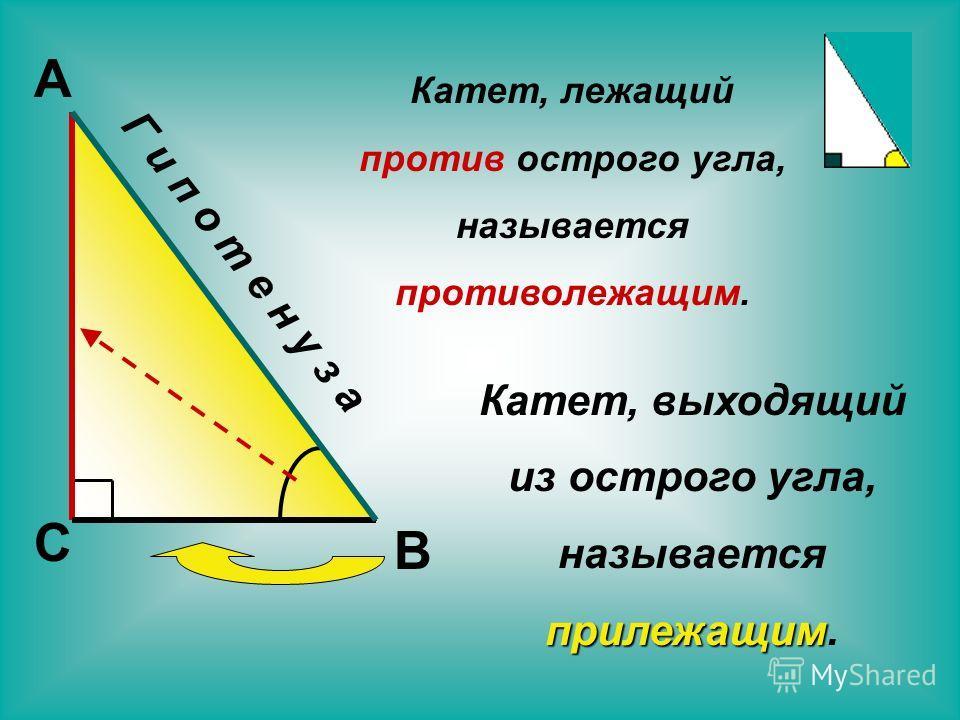 С В А Г и п о т е н у з а Катет, лежащий против острого угла, называется противолежащим. Катет, выходящий из острого угла, называется прилежащим.