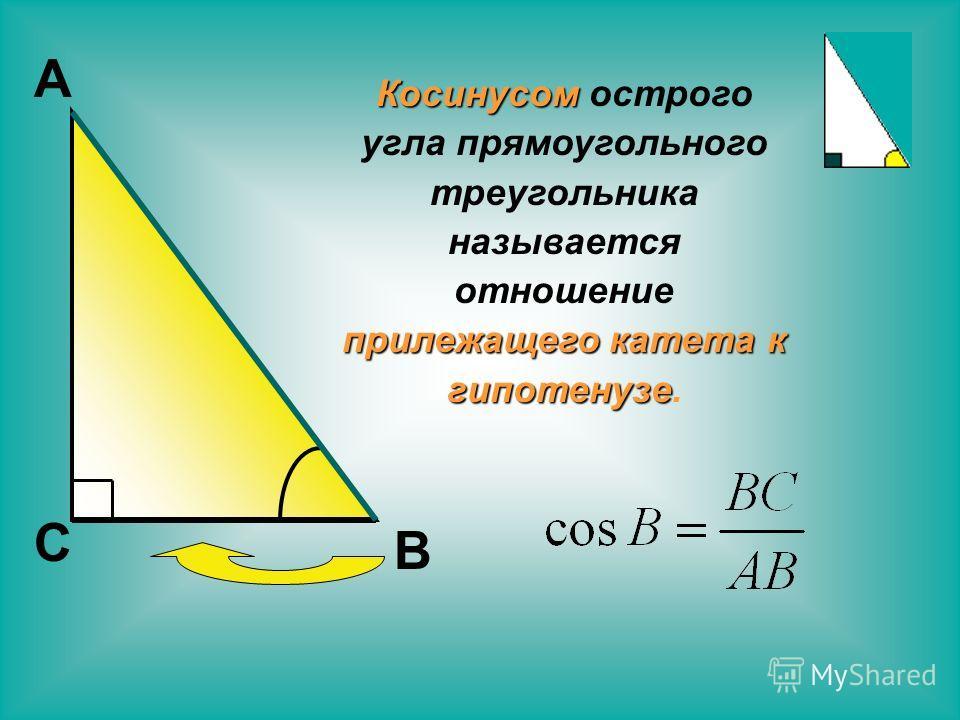 С В А Косинусом острого угла прямоугольного треугольника называется отношение прилежащего катета к гипотенузе.