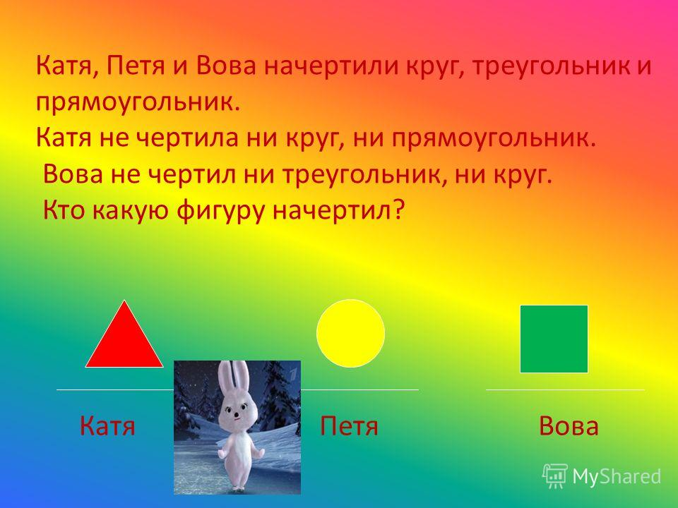Катя, Петя и Вова начертили круг, треугольник и прямоугольник. Катя не чертила ни круг, ни прямоугольник. Вова не чертил ни треугольник, ни круг. Кто какую фигуру начертил? КатяПетяВова